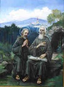 Święci Andrzej Świerad i Benedykt na tle góry Zabor i katedry w Nitrze