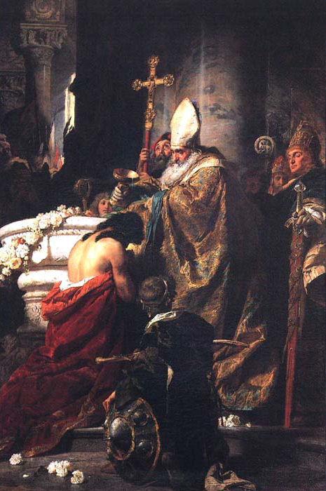 Stefan wg legendy przyjmuje chrzest z rąk św. Wojciecha