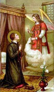 Święty Stanisław Kostka otrzymuje Komunię św. z rąk anioła