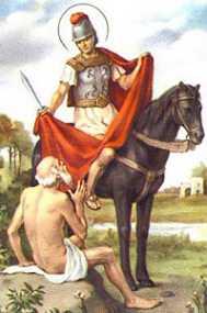 Św. Marcin rozdzierający opończę dla biedaka