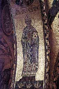 Święty Sylwester I - mozaika bizantyjska